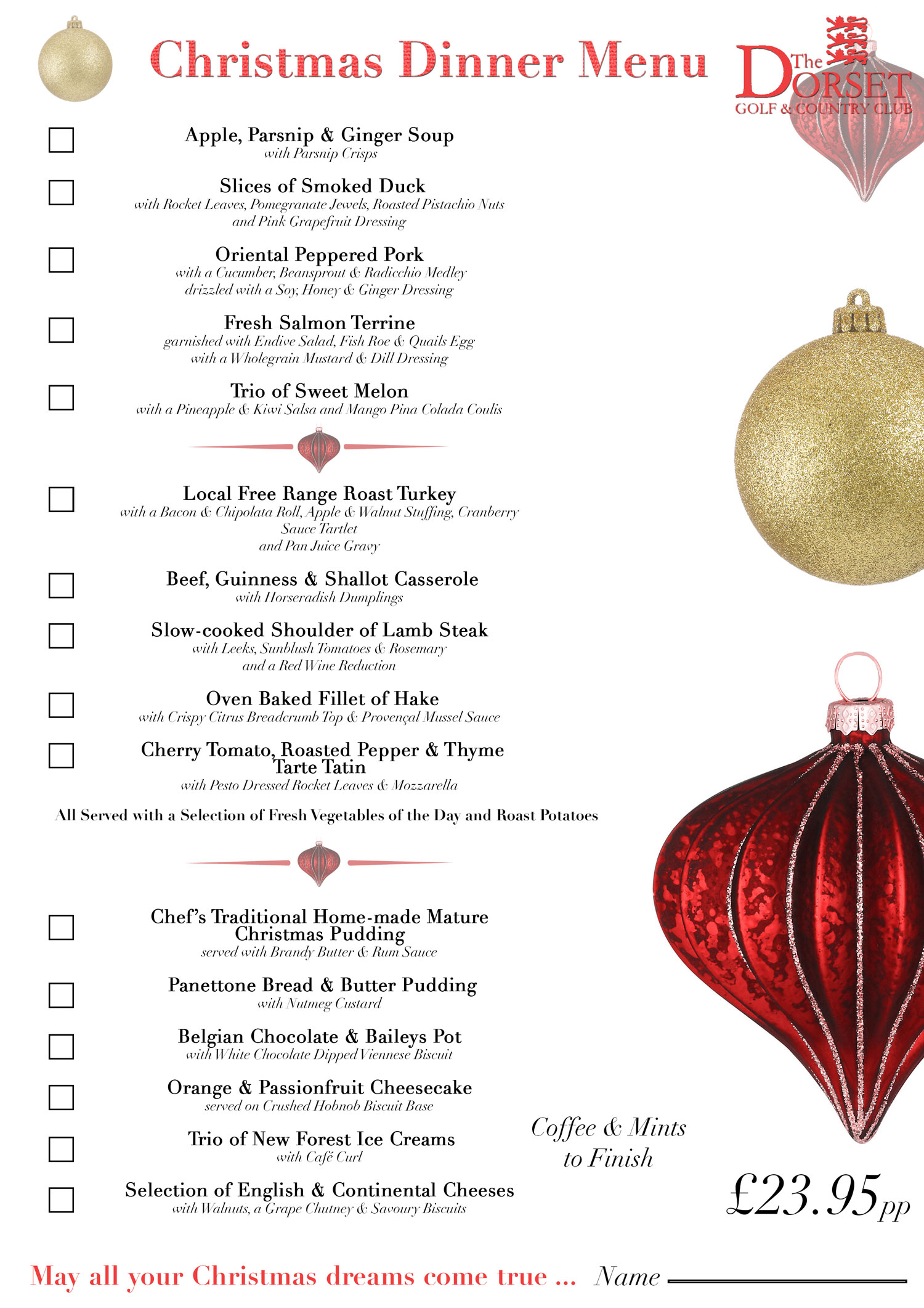 christmas dinner menus dublin